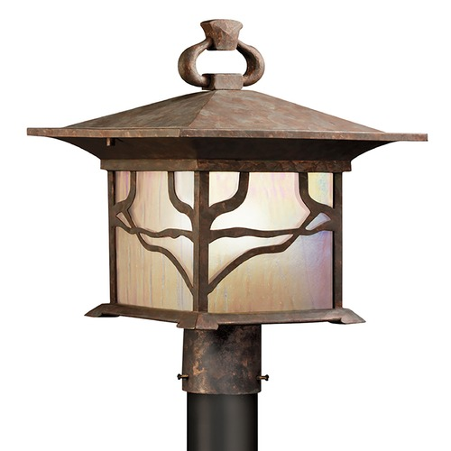 Kichler Lighting Kichler Distressed Copper Post Light with Etched Iridized Seedy Glass 9920DCO