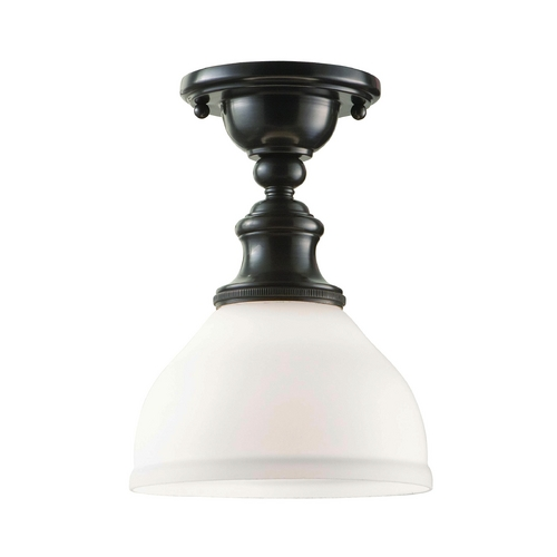 Hudson Valley Lighting Semi-Flushmount Light with White Glass in Old Bronze Finish 5911F-OB