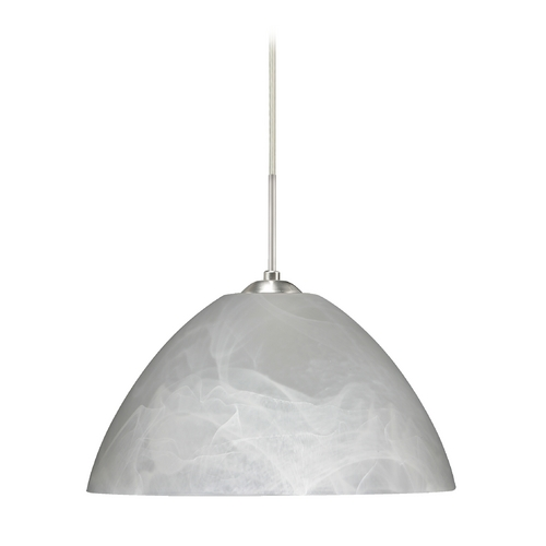 Besa Lighting Modern Pendant Light with Grey Glass in Satin Nickel Finish 1JT-420152-SN
