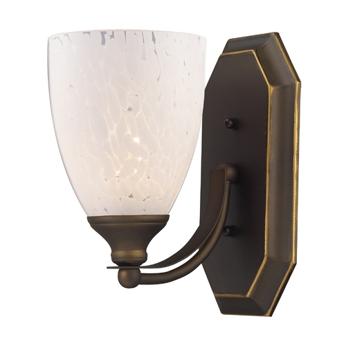Elk Lighting Sconce with Art Glass in Aged Bronze Finish 570-1B-SW