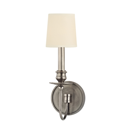 Hudson Valley Lighting Sconce Wall Light with White Shade in Aged Silver Finish 8211-AS-WS