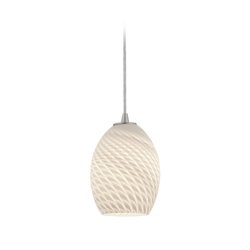 Access Lighting Modern Mini-Pendant Light with White Glass 28023-2C-BS/WHTFB