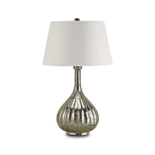 Currey and Company Lighting Table Lamp with White Paper Shade in Antique Mercury Finish 6678