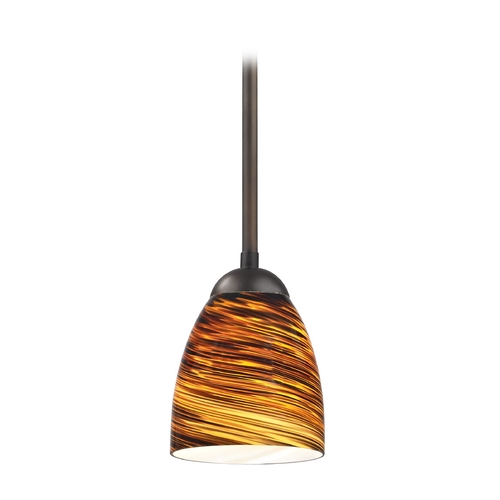 Design Classics Lighting Modern Mini-Pendant Light with Brown Art Glass 581-220 GL1023MB