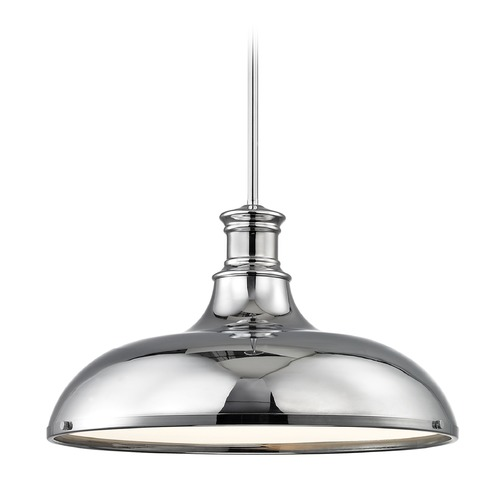 Design Classics Lighting Chrome Large Pendant Light with Metal Shade 18.38-Inch Wide 1761-26 SH1779-26 R1779-26