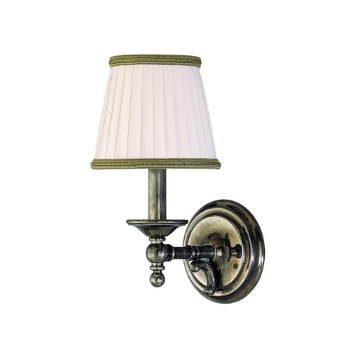 Hudson Valley Lighting Sconce Wall Light with White Shade in Historic Nickel Finish 7701-HN