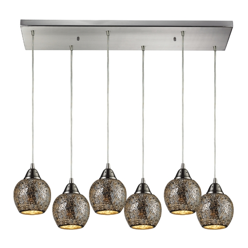 Elk Lighting Modern Multi-Light Pendant Light with Grey Glass and 6-Lights 10208/6RC-SLV