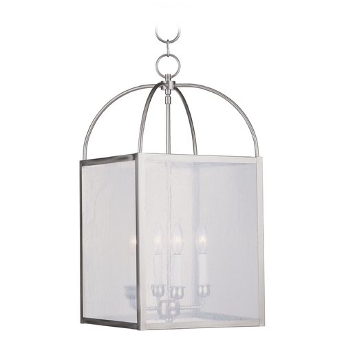 Livex Lighting Livex Lighting Milford Brushed Nickel Pendant Light with Square Shade 4046-91