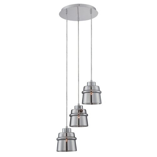 Lite Source Lighting Lite Source Sparta Chrome Multi-Light Pendant with Drum Shade LS-19143