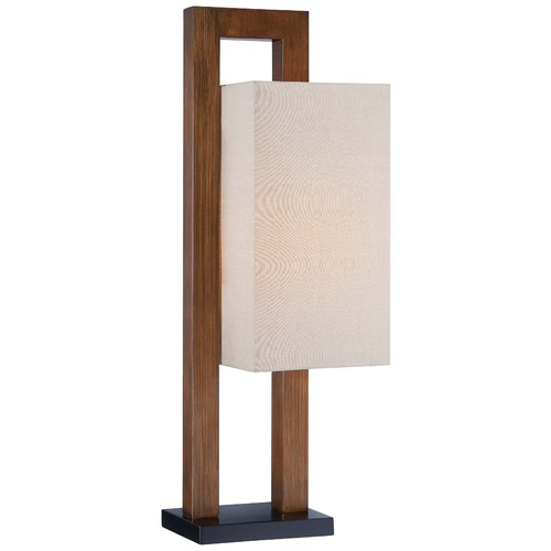 Minka Lavery Minka Walnut Table Lamp with Rectangle Shade 10037-0