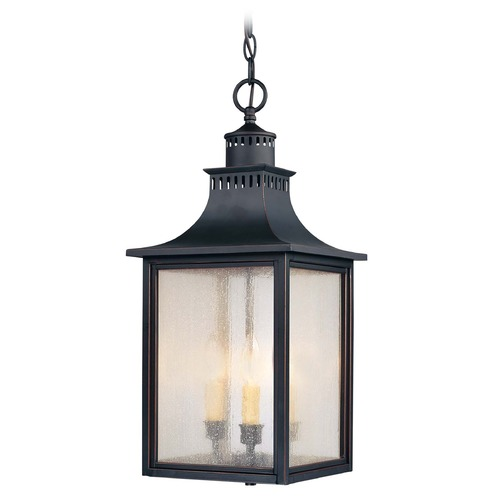 Savoy House Pale Cream Seeded Glass Outdoor Hanging Light Black Savoy House 5-256-25