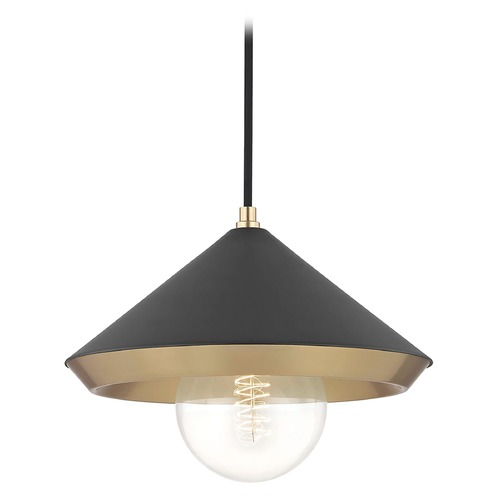 Hudson Valley Lighting Mid-Century Modern Pendant Light Brass Mitzi Marnie by Hudson Valley H139701L-AGB/BK