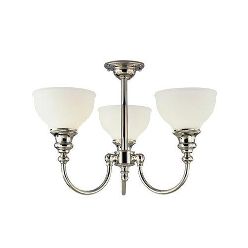 Hudson Valley Lighting Semi-Flushmount Light with White Glass in Polished Nickel Finish 5913F-PN