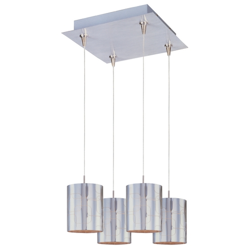 ET2 Lighting Modern Low Voltage Multi-Light Pendant Light with Clear Glass and 4-Lights E94707-69SN