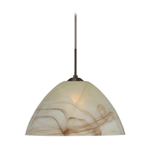 Besa Lighting Modern Pendant Light with Brown Glass in Bronze Finish 1JT-420183-BR