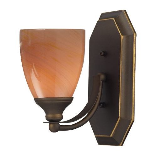 Elk Lighting Sconce with Art Glass in Aged Bronze Finish 570-1B-SY