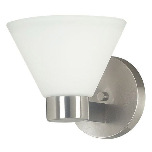 Kenroy Home Lighting Modern Sconce Wall Light with White Glass in Brushed Steel Finish 91791BS
