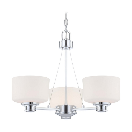 Nuvo Lighting Modern Chandelier with White Glass in Polished Chrome Finish 60/4587