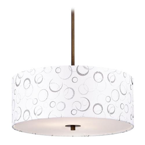 Design Classics Lighting Bronze Drum Pendant Light with White Patterned Shade DCL 6528-604 SH9464