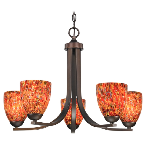 Design Classics Lighting Modern Chandelier with Art Glass in Neuvelle Bronze Finish 584-220 GL1012MB