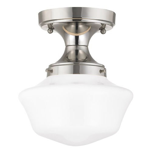 Design Classics Lighting 8-Inch Wide Polished Nickel Schoolhouse Ceiling Light FDS-15 / GA8