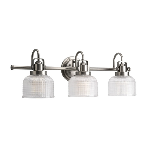 Progress Lighting Progress Bathroom Light with Clear Glass in Antique Nickel Finish P2992-81