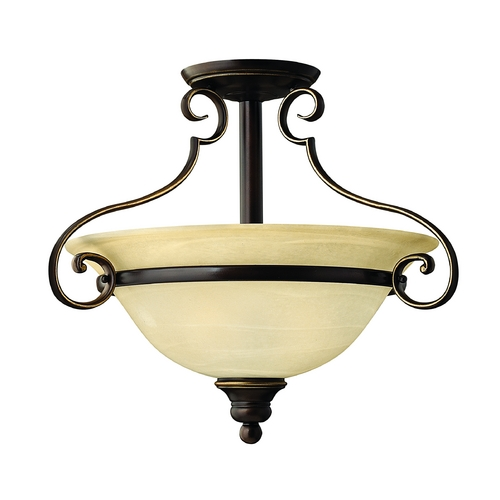 Hinkley Lighting Semi-Flushmount Light with Alabaster Glass in Antique Bronze Finish 4561AT