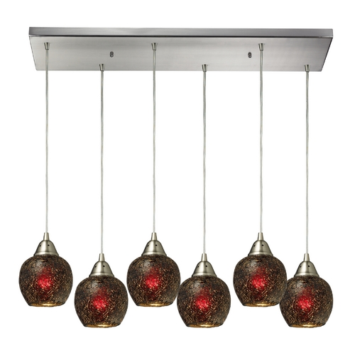 Elk Lighting Modern Multi-Light Pendant Light with Brown Glass and 6-Lights 10208/6RC-WN
