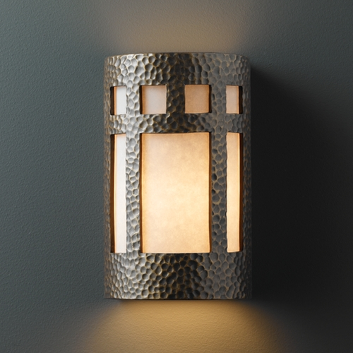 Justice Design Group Outdoor Wall Light with White in Hammered Brass Finish CER-7355W-HMBR