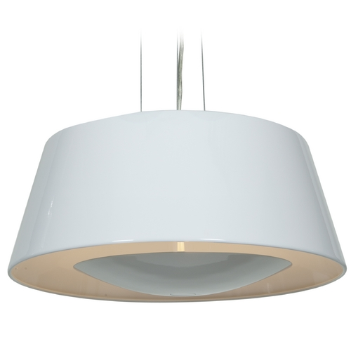 Access Lighting Access Lighting Soho Glossy White Pendant Light with Drum Shade 23765-GWH