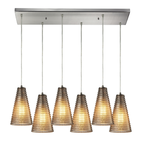 Elk Lighting Modern Multi-Light Pendant Light with Grey Glass and 6-Lights 10333/6RC