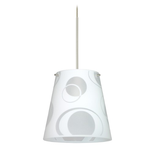 Besa Lighting Besa Lighting Amelia Satin Nickel LED Mini-Pendant Light with Empire Shade 1XT-4477CS-LED-SN