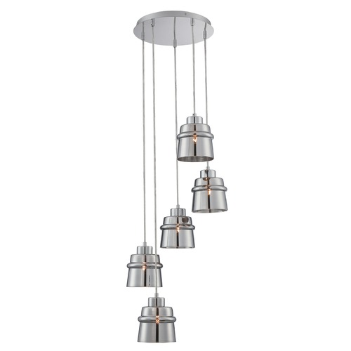 Lite Source Lighting Lite Source Sparta Chrome Multi-Light Pendant with Drum Shade LS-19145