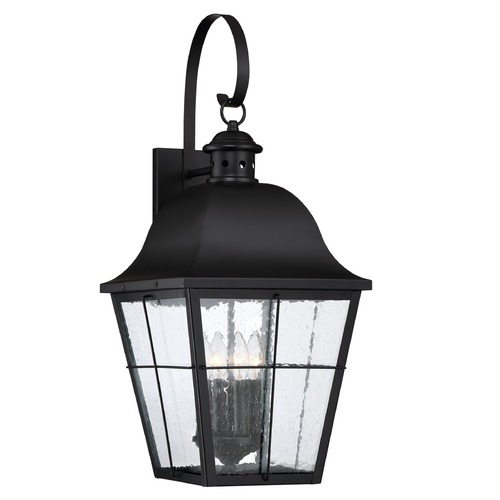 Quoizel Lighting Seeded Glass Outdoor Wall Light Black Quoizel Lighting MHE8412K