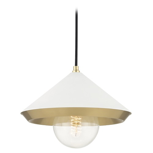 Mitzi by Hudson Valley Mid-Century Modern Pendant Light Brass Mitzi Marnie by Hudson Valley H139701L-AGB/WH