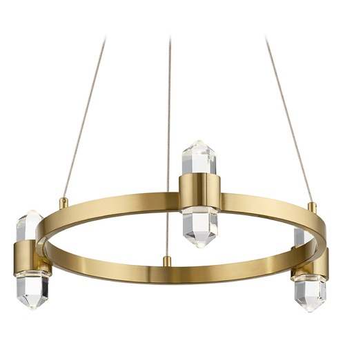 Elan Lighting Arabella 6-Light Champagne Gold LED Mini-Chandelier with Clear Crystal 3000K 212.5LM 84068CG