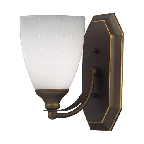 Elk Lighting Sconce with Art Glass in Aged Bronze Finish 570-1B-WH
