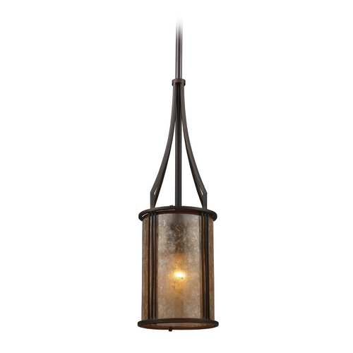 Elk Lighting Mini-Pendant Light with Brown Mica Shade 15033/1