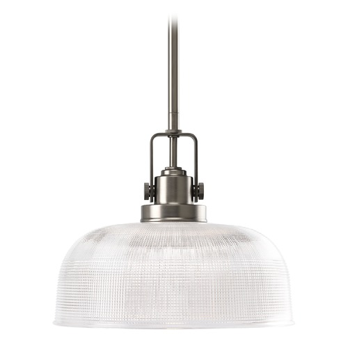 Progress Lighting Progress Nickel Pendant Light with Clear Prismatic Glass P5026-81