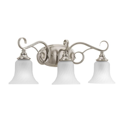 Progress Lighting Bathroom Light with White Glass in Brushed Nickel Finish P2785-09