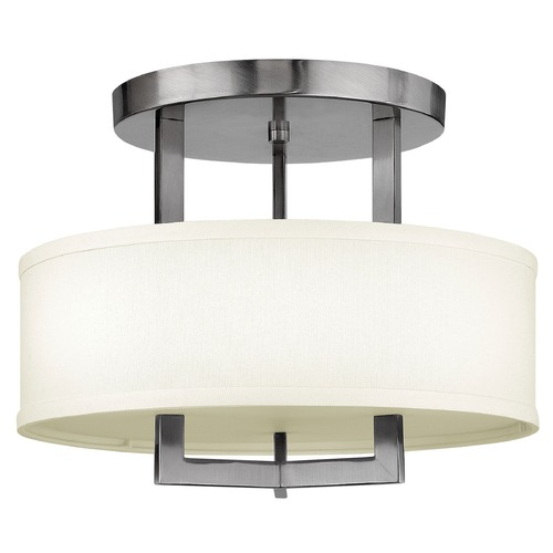 Hinkley Modern Drum Pendant Light with White Shade in Antique Nickel Finish 3200AN
