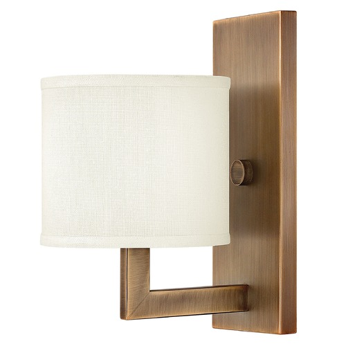 Hinkley Modern Sconce Wall Light with White Shade in Brushed Bronze Finish 3210BR