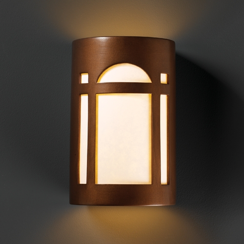 Justice Design Group Outdoor Wall Light with White in Antique Copper Finish CER-7385W-ANTC