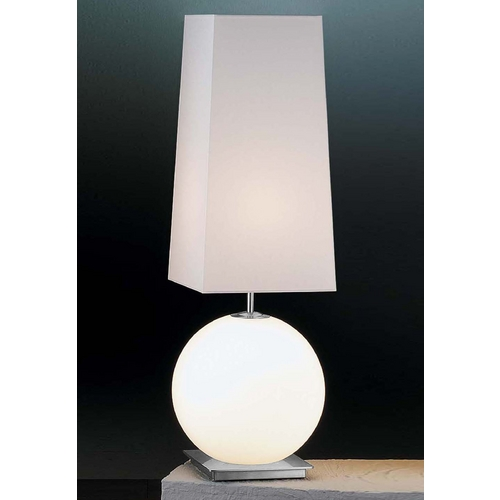 Holtkoetter Lighting Holtkoetter Modern Table Lamp with White Shades in Satin Nickel Finish 6031 SN SW SWSQ