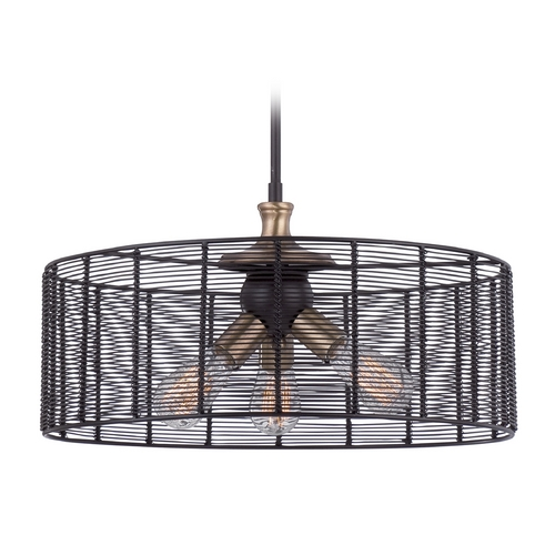Quoizel Lighting Quoizel Long Beach Western Bronze Pendant Light with Drum Shade LBH2820WT