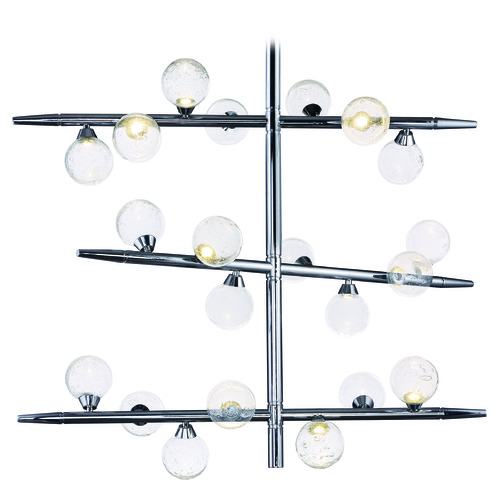 ET2 Lighting Bubbly Polished Chrome LED Pendant Light with Globe Shade E24573-91PC