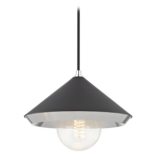 Mitzi by Hudson Valley Mid-Century Modern Pendant Light Polished Nickel Mitzi Marnie by Hudson Valley H139701L-PN/BK