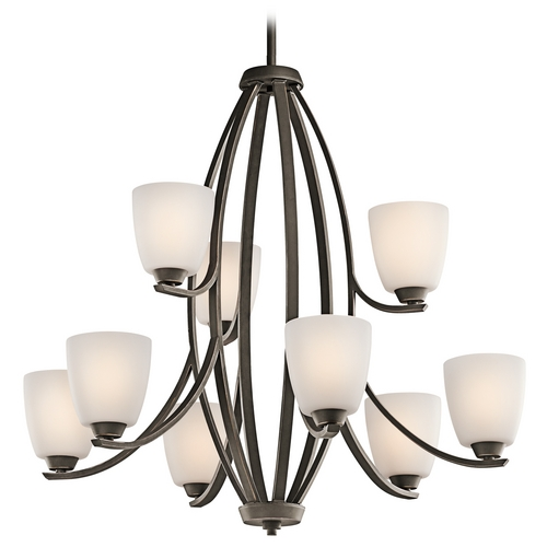 Kichler Lighting Kichler Chandelier with White Glass in Olde Bronze Finish 42559OZ