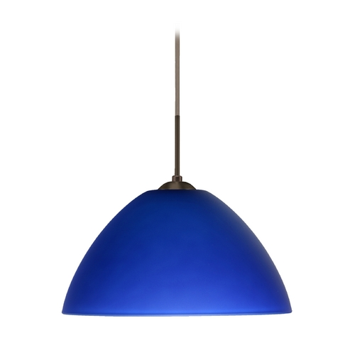 Besa Lighting Modern Pendant Light with Blue Glass in Bronze Finish 1JT-420187-BR