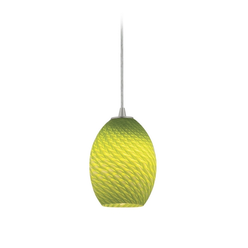 Access Lighting Modern Mini-Pendant Light with Green Glass 28023-2C-BS/LGRFB